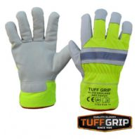 TUFF GRIP HI-VIS HAULAGE GLOVES SIZE 10 FLEECE LINED SAFETY BUILDERS HIGHWAY